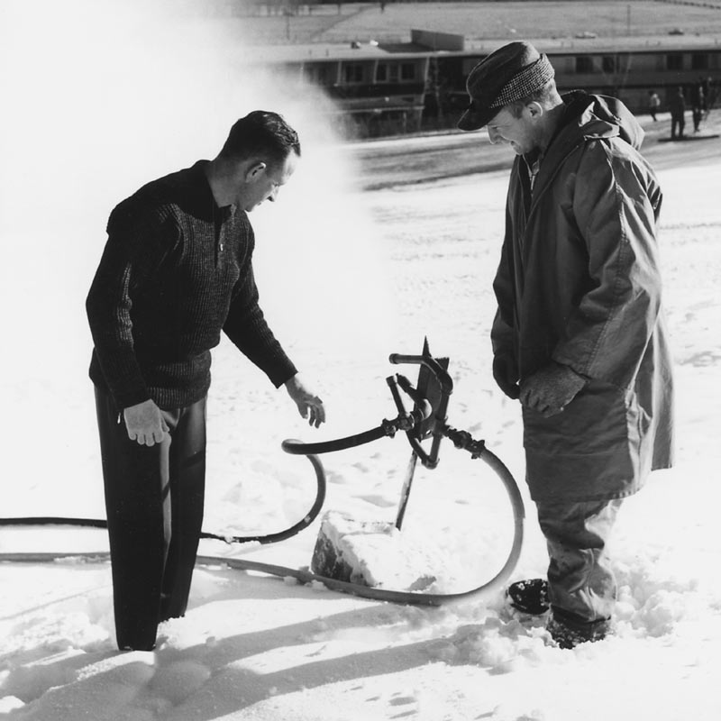 Everett Kircher testing early 1950s Snowmaker