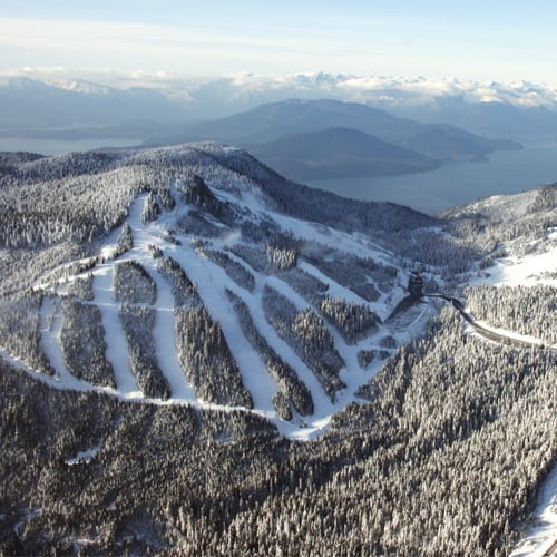 A distant view of Cypress Mountain